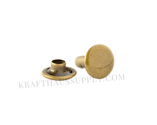 Antique Brass Double Cap Rivets (10mm cap/10mm post)