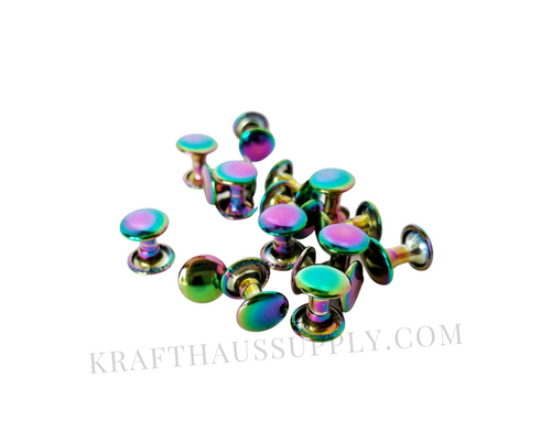 Rainbow Double Cap Rivets (10mm cap/10mm post)
