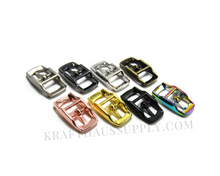 Load image into Gallery viewer, 3/8 inch (10mm) Pearl Silver Double Bar Pin Buckle