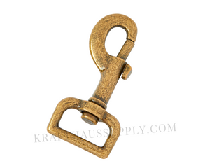 "1"" (25mm) Antique Brass Bolt-Style Swivel Snaphook"
