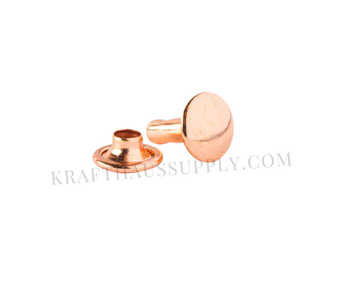 Rose Gold Double Cap Rivets (10mm cap/10mm post)