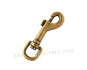 "1/2"" (12mm) Antique Brass Bolt-Style Swivel Snaphook"
