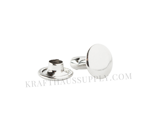 Silver Double Cap Rivets (10mm cap/10mm post)