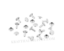 Load image into Gallery viewer, Silver Double Cap Rivets (10mm cap/10mm post)