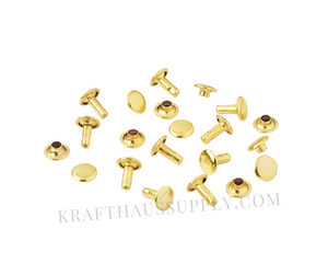 Yellow Gold Double Cap Rivets (12mm cap/12mm post)