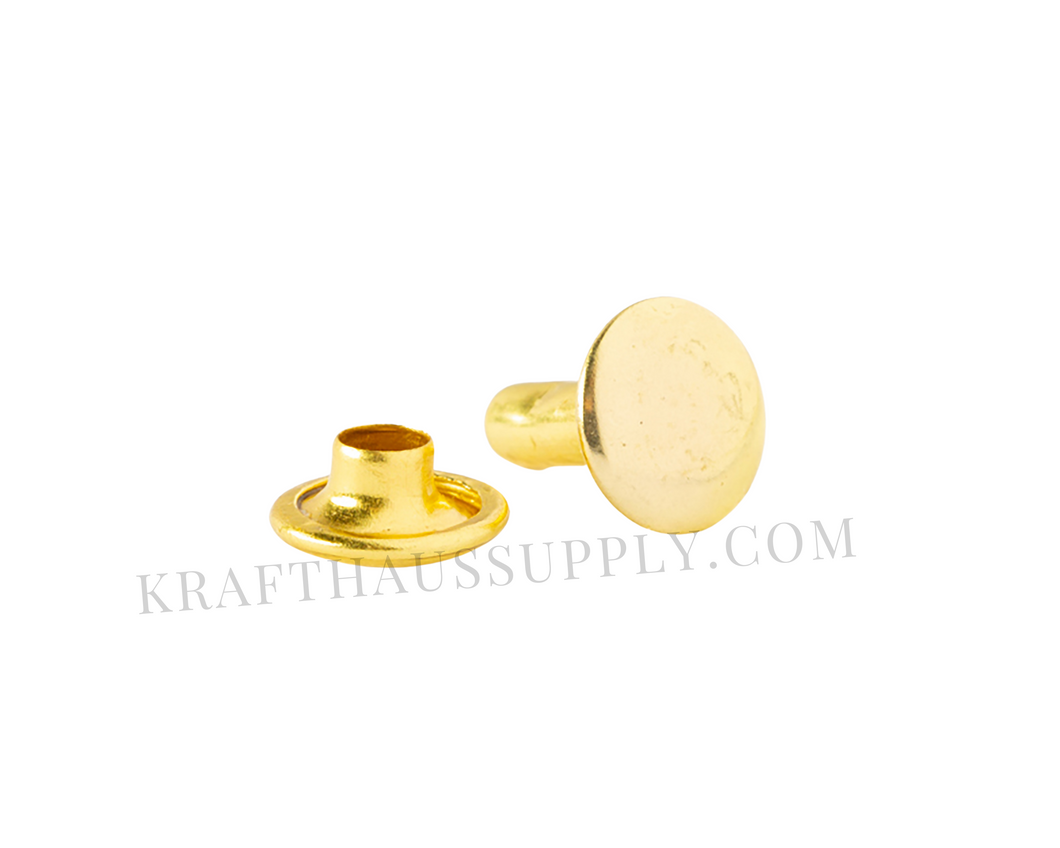Yellow Gold Double Cap Rivets (8mm cap/8mm post)