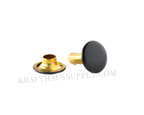 Matte Black Double Cap Rivets (10mm cap/10mm post)