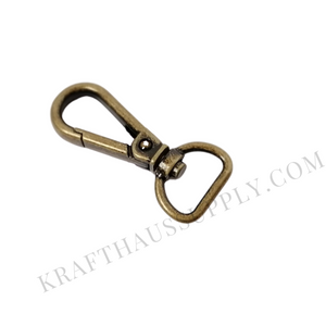"5/8"" (16mm) Antique Brass Push Gate Swivel Snaphook"