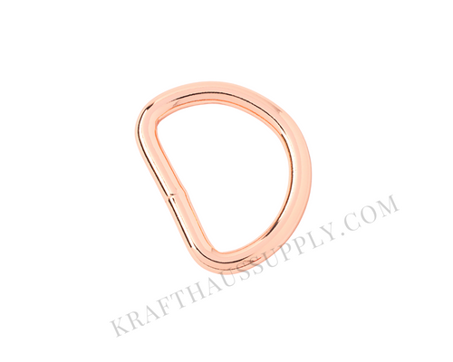 1 inch (25mm) Rose Gold Welded D-Ring