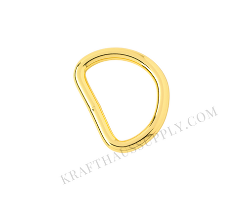 1 inch (25mm) Yellow Gold Welded D-Ring