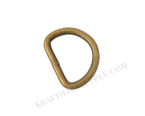 1 inch (25mm) Antique Brass Welded D-Ring