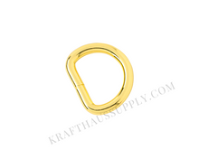 Load image into Gallery viewer, 3/4 inch (20mm) Yellow Gold Welded D-Ring