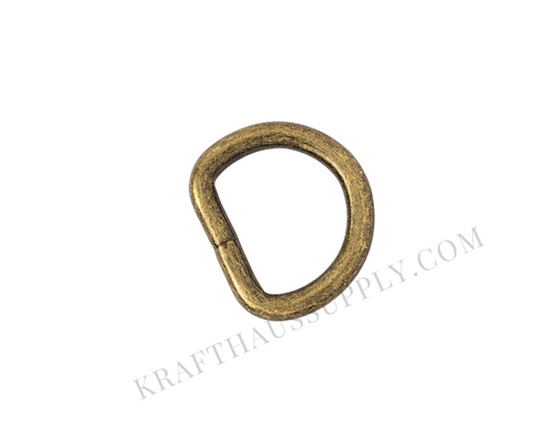 3/4 inch (20mm) Antique Brass Welded D-Ring