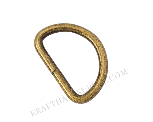 1.5 inch (38mm) Antique Brass Welded D-Ring
