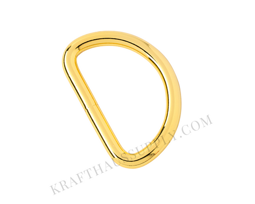 1.5 inch (38mm) Yellow Gold Welded D-Ring