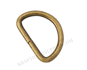 2 inch (51mm) Antique Brass Welded D-Ring