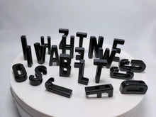 "Load image into Gallery viewer, PRESALE Alphabet Slide Charms-1"" (26mm) opening MATTE BLACK (Whole Alphabets)"