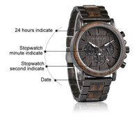Men's Wood Stainless Steel Watch