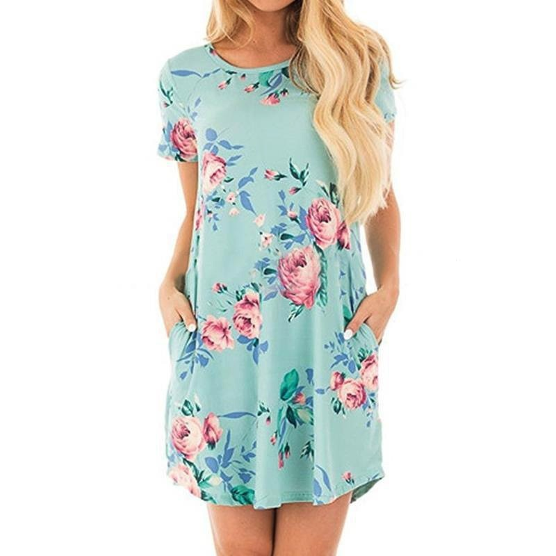 Womens Short Sleeve Fashion Dress with Pockets