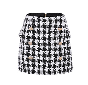 Womens Houndstooth Tweed Mini Skirt