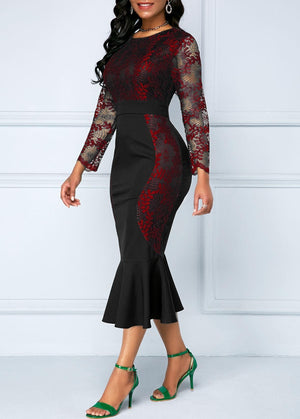 Womens Mermaid & Bodycon Lace Dress