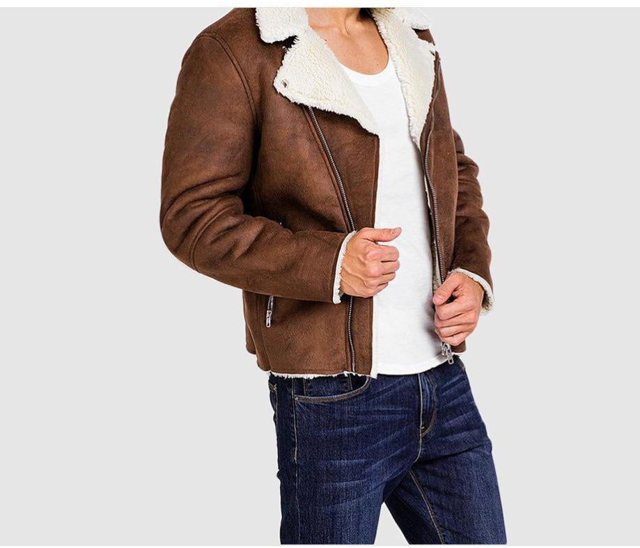 Men's Leather Turn-Down Collar Jacket