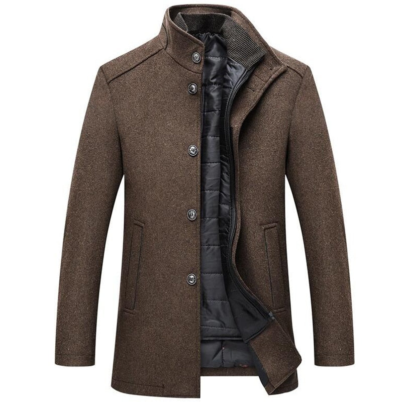Men's Single Breasted Wool Coat