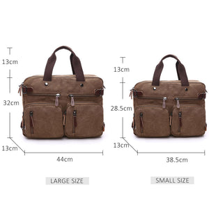 Men's Convertible Canvas Backpack and Briefcase