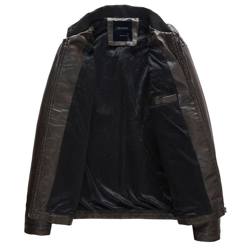 Mens Casual Leather Biker Jacket