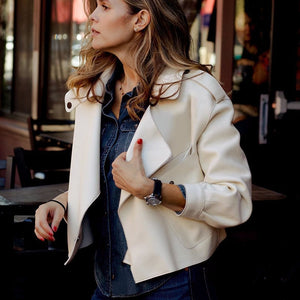 Women's Turn Down Collar Faux Leather Jacket