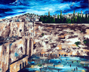 Kotel In Blue - Devora's Paintings, Painting - Jewish Art Prints, Devora Rhodes - Devora Davidowitz Rhodes, Devora Rhodes Collection - World of Color Studios