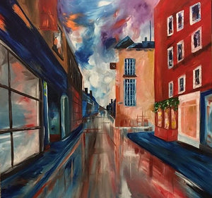 A Perfect Street - Devora's Paintings, Painting - Jewish Art Prints, Devora Rhodes - Devora Davidowitz Rhodes, Devora Rhodes Collection - World of Color Studios