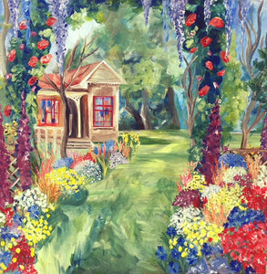 House In A Garden - Devora's Paintings, Painting - Jewish Art Prints, Devora Rhodes - Devora Davidowitz Rhodes, Devora Rhodes Collection - World of Color Studios