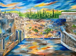 Kotel In The Spring - Devora's Paintings, Painting - Jewish Art Prints, Devora Rhodes - Devora Davidowitz Rhodes, Devora Rhodes Collection - World of Color Studios