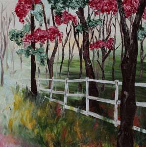 White Fence - Devora's Paintings, Painting - Jewish Art Prints, Devora Rhodes - Devora Davidowitz Rhodes, Devora Rhodes Collection - World of Color Studios