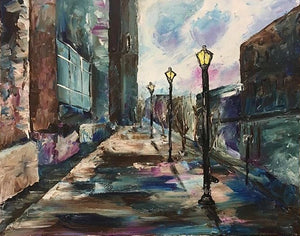 Foggy Street - Devora's Paintings, Painting - Jewish Art Prints, Devora Rhodes - Devora Davidowitz Rhodes, Devora Rhodes Collection - World of Color Studios