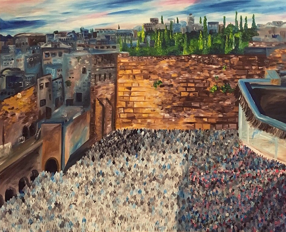 Yom Tov At The Kotel - Devora's Paintings, Painting - Jewish Art Prints, Devora Rhodes - Devora Davidowitz Rhodes, Devora Rhodes Collection - World of Color Studios