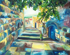 Tzfat - Devora's Paintings, Painting - Jewish Art Prints, Devora Rhodes - Devora Davidowitz Rhodes, Devora Rhodes Collection - World of Color Studios