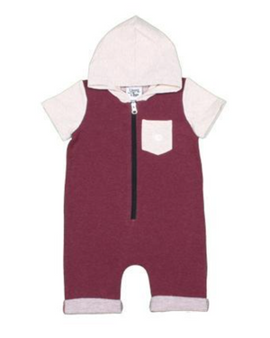 Burgundy Zipper Shorts Romper
