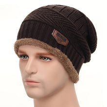Load image into Gallery viewer, Winter Knitted Hats Scarves Men Winter Cap Beanie Thick Neck Warm Wool Bonnet Skullies Beanies For Men Women Knitted hat