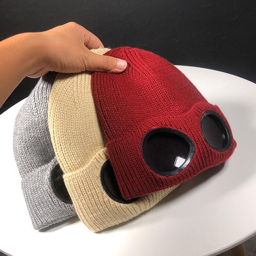 2019 Cotton Double-use Thickened Winter Knitted Hat Warm Beanies Skullies Ski Cap with Removable Glasses Skullies & Beanies
