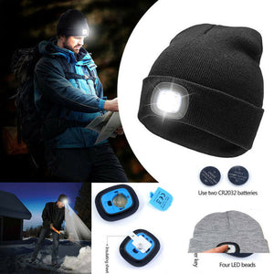 New Unisex Men Women LED Beanie Knit Ski Cap Hip-Hop Blank Color Winter Warm Hat
