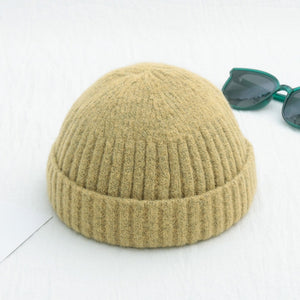 Unisex Winter Ribbed Knitted Cuffed Short Melon Cap Solid Color Skullcap Baggy Retro Ski Fisherman Docker Beanie Hat Slouchy