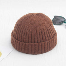 Load image into Gallery viewer, Unisex Winter Ribbed Knitted Cuffed Short Melon Cap Solid Color Skullcap Baggy Retro Ski Fisherman Docker Beanie Hat Slouchy