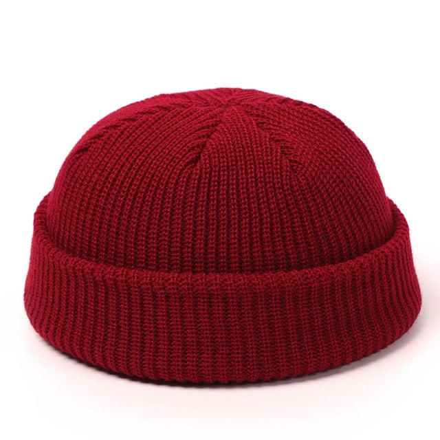 Winter Knit Mens Hat Skullcap Men Beanie Hat Winter Short Brimless Baggy Melon Cap Docker Fisherman Knitted Hat Women