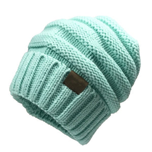 Women's Winter Knit Warm Wool Cap Unisex Folding Casual CC Label Hat Adult Solid Color Hip Hop Bean Bean Hats