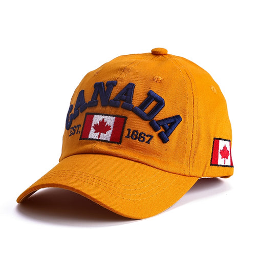 2019 latest baseball cap. Canadian design Cotton letter adjustable button cap for men and women blue  green Yellowis brown cap