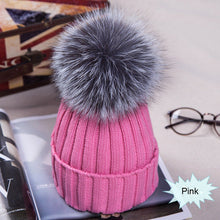 Load image into Gallery viewer, Winter NEW Women Pom Pom Beanies Warm Knitted Bobble Girl Fur Pompom Hats Real Raccoon Fur Pompon Casual Hat Cap