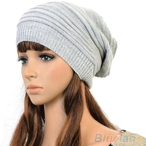 New Unisex Womens Mens Knit Baggy Beanie Hat Winter Warm Oversized Ski Cap 1P8L