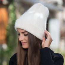 Load image into Gallery viewer, 2019 new simple Rabbit fur Beanie Hat for Women Winter Skullies Warm Gravity Falls Cap Gorros Female Cap